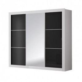 Šatní skříň 250 cm s posuvnými dveřmi v černém lesku se zrcadlem a bílým korpusem typ 21 F2007