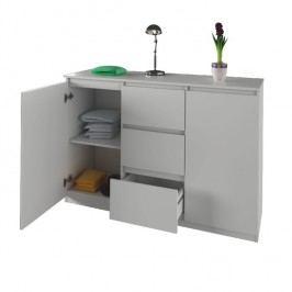 Praktická nízká komoda bílé barvy se zásuvkami a skříňkami typ03 TK244