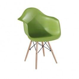 Designové trendy křeslo v kombinaci dřeva buk a plastu zelené barvy TK190