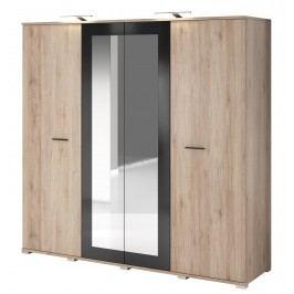 Šatní skříň 200 cm s dveřmi v dekoru dub san remo sand s černým leskem se zrcadlem a korpusem dub typ 20 F2009