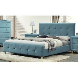 Manželská postel 180x200 cm s čalouněním v modré barvě s roštem KN428