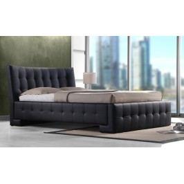 Stylová manželská postel 180x200 cm v černé kožence KN446