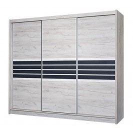 Moderní šatní skříň 250 cm s posuvnými dveřmi v barvě dub craft a grafit KN463