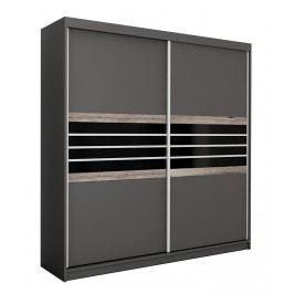 Moderní šatní skříň 203 cm s posuvnými dveřmi v černé a lávové barvě KN463