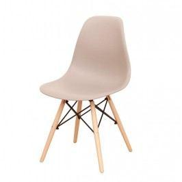 Designová jídelní židle plastová v barvě teple šedé a dekoru buk TK078