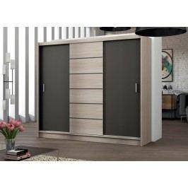 Moderní šatní skříň 250 cm s posuvnými dveřmi v barevné kombinaci dub sonoma a láva KN468