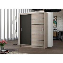 Moderní šatní skříň 203 cm s posuvnými dveřmi v barevné kombinaci dub sonoma a láva KN468