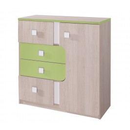 Kombinovaná komoda v dekoru dub v kombinaci se zelenou a bílou barvou typ D5 KN741