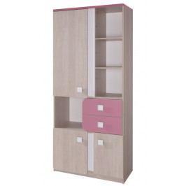 Kombinovaná skříň 80 cm v dekoru dub s růžovými zásuvkami typ D2 KN741