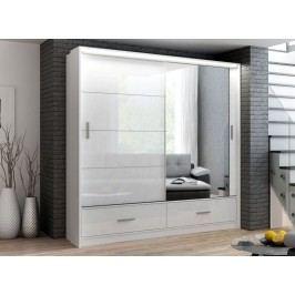 Šatní skříň 203 cm v elegantní bílé barvě s osvětlením KN510