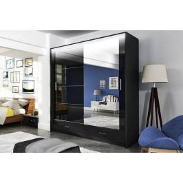 Šatní skříň 203 cm v elegantní černé barvě s osvětlením KN510