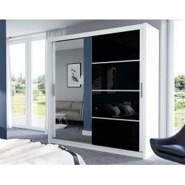 Stylová šatní skříň 203 cm v bílé a černé barvě se zrcadlem KN509