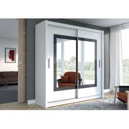 Velká šatní skříň o šířce 203 cm s posuvnými dveřmi a zrcadlem uprostřed v bílé barvě KN513