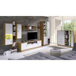 Obývací stěna v bílé barvě s korpusem v dekoru dub lefkas typ 1 F2002