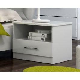 Noční stolek se zásuvkou v bílé barvě KN548