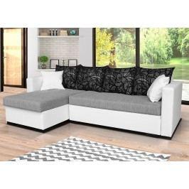 Univerzální sedací souprava v kombinaci bílé a šedé barvy s polštáři se vzorem F1281