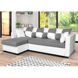 Univerzální sedací souprava v kombinaci bílé a šedé barvy s polštáři se vzorem čtverců F1281