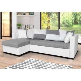 Univerzální sedací souprava v kombinaci bílé a šedé barvy s polštáři v šedobílé barvě F1281