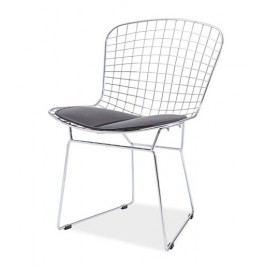 Chromová jídelní židle se sedákem v černé barvě KN1004