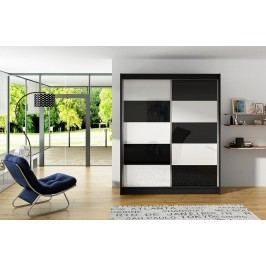 Šatní skříň 150 cm s posuvnými dveřmi s černými a bílými skly a korpusem v černé barvě typ II KN590