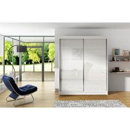 Šatní skříň 150 cm s posuvnými dveřmi s bílými skly a korpusem v bílé barvě typ I KN589