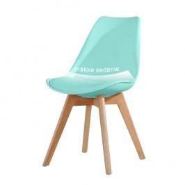 Plastová jídelní židle v moderním barevném provedení mentol s dřevěnou podstavou a měkkým sedákem TK191