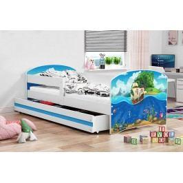 Dětská postel v modré barvě s moderním motivem pirátské lodi 80x160 F1227