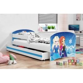 Dětská postel v modré barvě s moderním motivem princezen 80x160 F1227