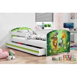 Dětská postel v zelené barvě s moderním motivem zvířat 80x160 F1227