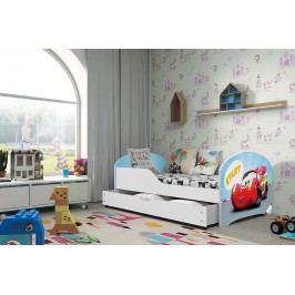 Pohodlná dětská postel v bílé barvě s motivem auta 80x160 cm F1283