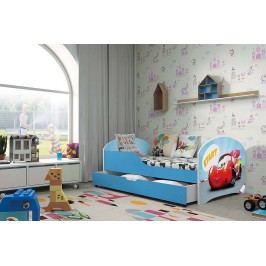 Pohodlná dětská postel v modré barvě s motivem auta 80x160 cm F1283