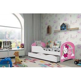 Pohodlná dětská postel v bílé barvě s motivem kočky 80x160 cm F1283