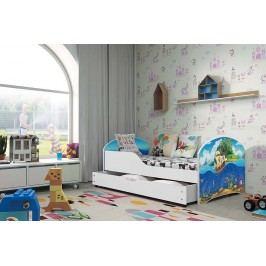 Pohodlná dětská postel v bílé barvě s motivem pirátské lodi 80x160 cm F1283