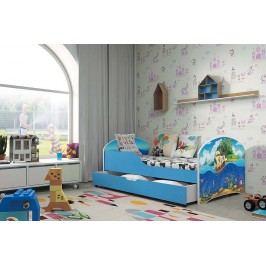 Pohodlná dětská postel v modré barvě s motivem pirátské lodi 80x160 cm F1283