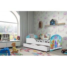Pohodlná dětská postel v bílé barvě s motivem pony 80x160 cm F1283