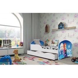 Pohodlná dětská postel v bílé barvě s motivem princezen 80x160 cm F1283