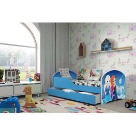 Pohodlná dětská postel v modré barvě s motivem princezen 80x160 cm F1283