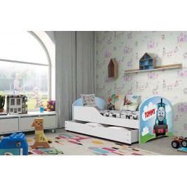 Pohodlná dětská postel v bílé barvě s motivem vláčku 80x160 cm F1283