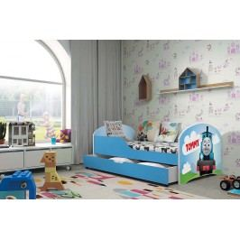 Pohodlná dětská postel v modré barvě s motivem vláčku 80x160 cm F1283