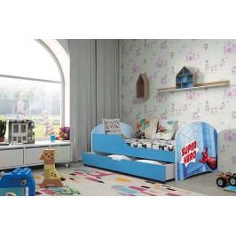 Pohodlná dětská postel v modré barvě s motivem spider man 80x160 cm F1283