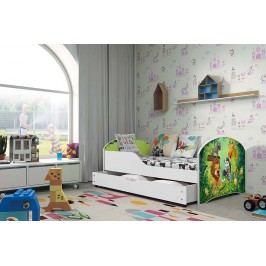 Pohodlná dětská postel v bílé barvě s motivem zvířat 80x160 cm F1283