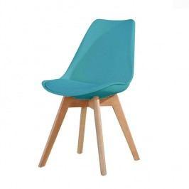Jídelní židle s podstavou v dekoru dubu v odstínu petrolej  TK191