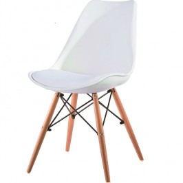 Jídelní židle v bílé barvě a dekoru buk TK2047
