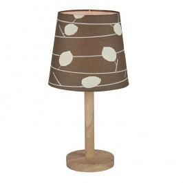 Stolní lampa, dřevo / látka vzor listy, QENNY TYP 6