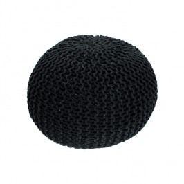 Pletený taburet v elegantní černé bavlně TYP 1 TK264