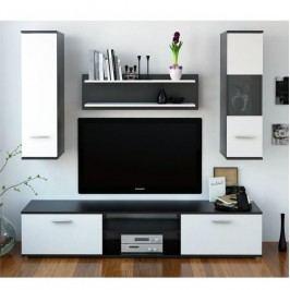 Obývací stěna v kombinaci černé a bílé TK2142