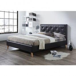 Manželská postel 180x200 cm s lamelovým roštem hnědá ekokůže TK3006