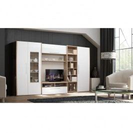 Obývací stěna s bílým leskem a dekorem dub sonoma TK2252
