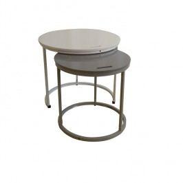 Příruční stolky 2v1 60x50cm v kombinaci bílé a šedé TK2148