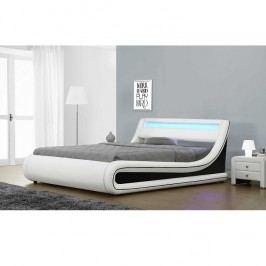 Manželská postel 163x200 cm s výklopným roštem a LED osvětlením v kombinaci bílá a černá ekokůže TK3007 ATYP